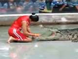 Crazy Girl Puts Head In Crocodile's Mouth