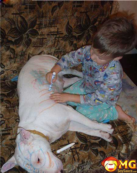 kid-drawing-on-dog-marker