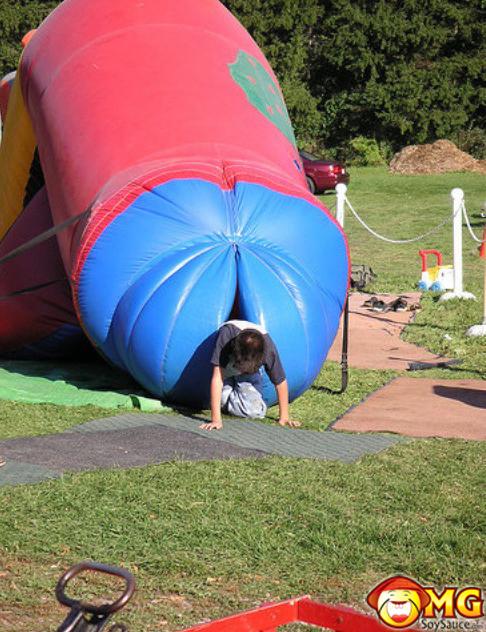 weird-kids-blowup-castle-slide