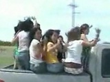 Girls Fall Out Back Of Truck